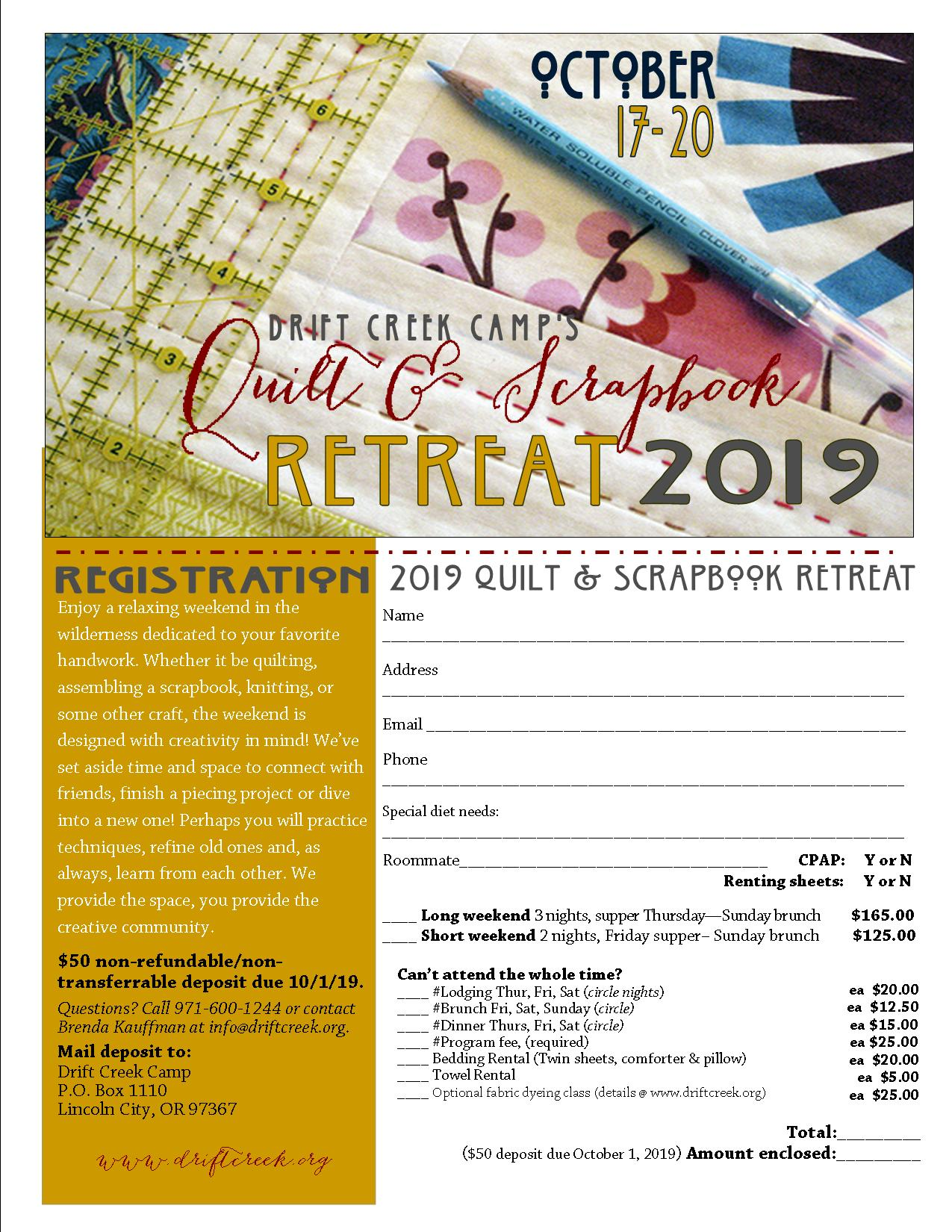 Fall Quilting Retreat | Drift Creek Camp
